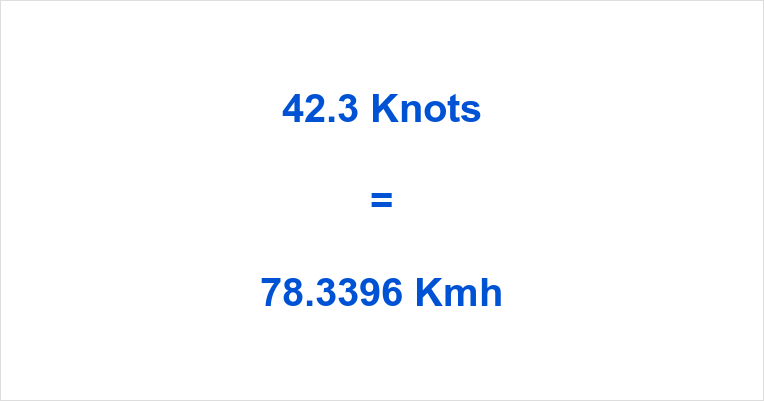 42.3 Knots to Kmh