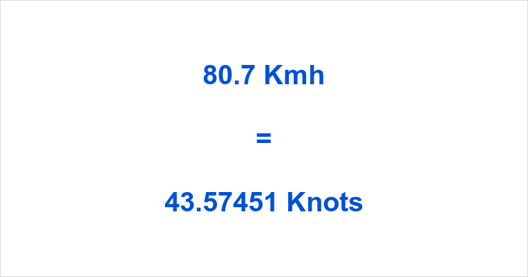 80.7 Kmh to Knots